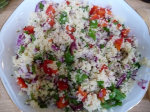 Cous Cous with Red Onion, Pepper and Coriander
