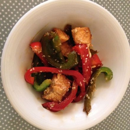 Salmon and pepper stir fry with Honey Sesame Soy dressing